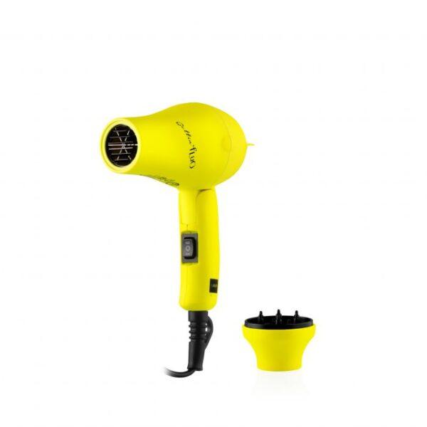 Gettin' Fluo Folding Mini Hair Dryer Yellow 1200W Travel Size